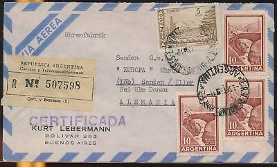 LJ64579 Argentina 1950s Germany airmail cover used