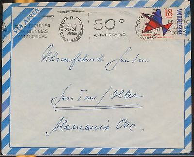 LJ64581 Argentina 1956 Germany airmail cover used