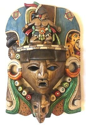 Maize  Aztec Mexican Carved Wood Mask Cedar Ships Free Colorful Mayan