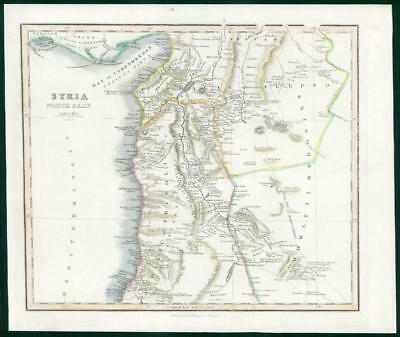 1834 - Original Antique Map SYRIA NORTH PART by Fullerton Hand Coloured (wv33)