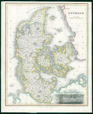 1834 - Original Antique Map of DENMARK by Fullerton Hand Coloured (wv20)