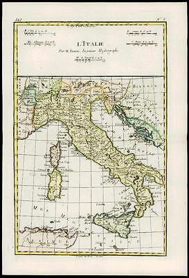 1780 - Original Antique Map L'ITALIE ITALY Corsica Sardinia Africa by Bonne (42)