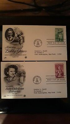 First day covers Bobby Jones and Babe Zaharias. Scott's 1932 and 1933