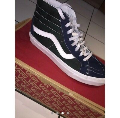 ee2fdeee935d MENS VANS SK8-HI Canvas Green Navy White. Size UK 9. 10 10 With Box ...