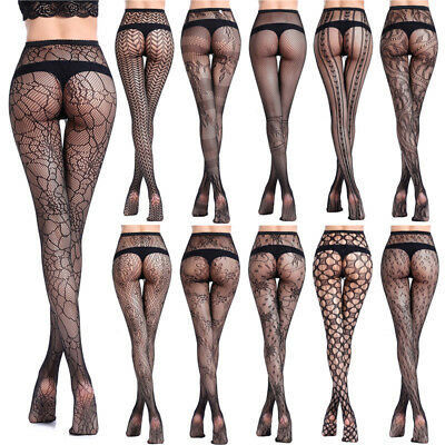 Women's Sexy Black Lace Fishnet Patterned Pantyhose Tights Stocking Lingerie New