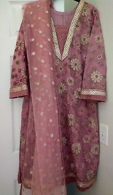 Pakistani stylish Net emroidered outfit shirt pants shalwar kameez SZ M NEW