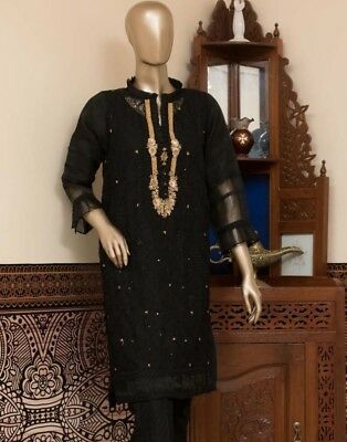Pakistani Embroidered Organza net Stylish Kurti Shirt kameez SZ M NEW