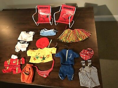 Vintage Snoopy Plush Doll Outfit Clothing Lot plus 2 Vinyl chairs