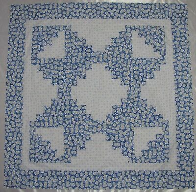 "Log Cabin Quilt Top~PIECED~PATCHWORK~""Daisy Blue Star"" Baby, Wall, Lap Quilt 44"""
