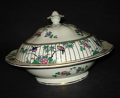 ANTIQUE BOOTHS CHINA SPRINGTIME VEGETABLE TUREEN Bluebirds Flowers ENGLAND 1900s