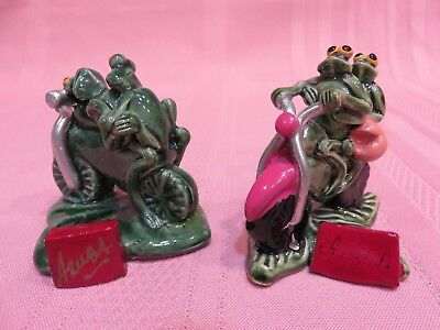 Two Motorcycle Novelty Items With Frogs On Them