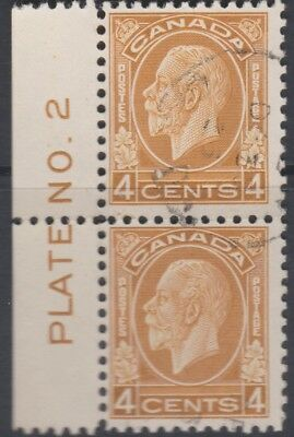 Canada 1932 KG V 4 cents yellow Brown Marginal pair Plate No 2 very fine used.
