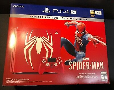 Sony PS4 Pro 1TB Spider-man Amazing RED Limited Edition Bundle NEW