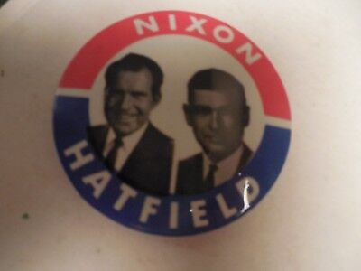 Richard Nixon Mark Hatfield Pin Back Presidential Campaign President 1968 Button