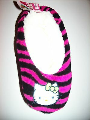 Hello Kitty Girls Slipper Socks Striped Warm Fuzzy Babba 1pr Sz S/M