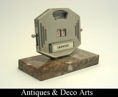 French Art Deco Desk Calendar on Marble Base by Mistral