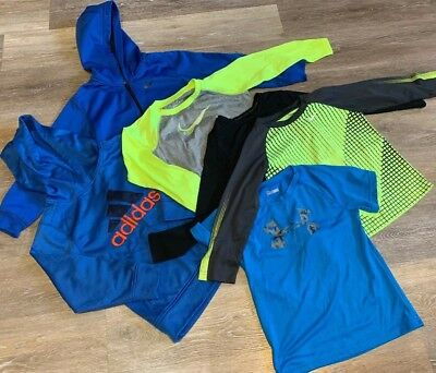Large Lot Boys Athletic Clothes Dri Fit Nike Under Armour Adidas Size 7 Hoodies