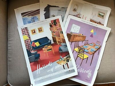 1950s HARRODS ADVERTISEMENTS from COUNTRY LIFE. FIVE SEPARATE PAGES 33 x 24 cm
