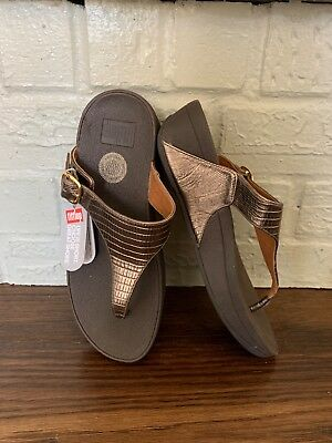 8f740b35e81e96 FitFlop The Skinny Deluxe Womens Sz 6 US Flip Flops Bronze Buckle Sandals  Thong