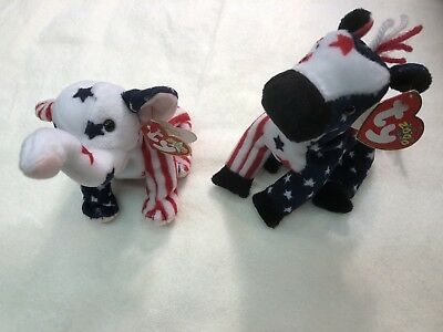 Beanie Babies TY Baby Lefty Donkey andBaby Righty Elephant Retired Collectible