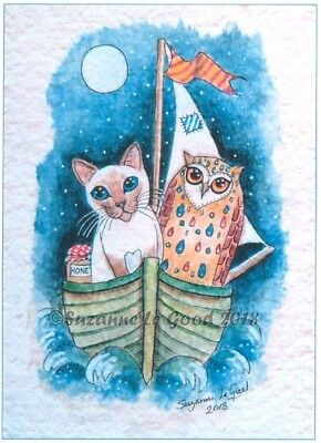 Owl And Cat Pussycat Siamese Signed Art Print From Painting By Suzanne Le Good