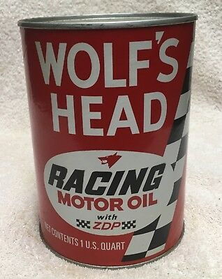Vintage WOLF'S HEAD RACING MOTOR OIL QUART Can FULL SAE50