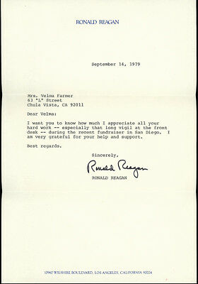 RONALD REAGAN. Signed, Autographed Letter. 1979