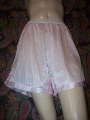 Vtg Pink Plus Size Nylon Shorts Cotton Gusset Panty Tap Panties Lingerie 10