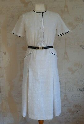 Vintage 1970's- 1940's Retro WWII Cream white Cotton Shirtdress Tea Dress 10/S