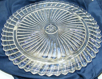 vintage Elegant CLEAR GLASS CAKE PLATTER Pinwheel Pattern EXCELLENT CONDITION