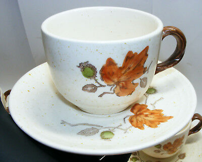 vintage POPPYTRAIL by Metlox 4 cups 5 saucers SPECKLED Autumn Leaves FALL COLORS