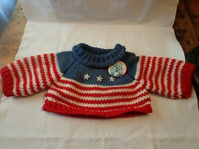 Vintage Red White & Blue Knit Sweater For Toy Bear