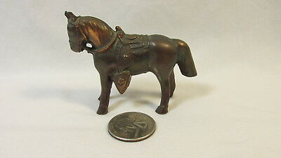 Vintage Hollow Brass Horse & Saddle Figurine - Statue