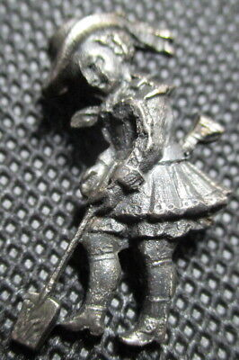 "1940s French White ""REALISTIC GIRL W/SHOVEL"" Dimi Small~Vintage Antique Button"
