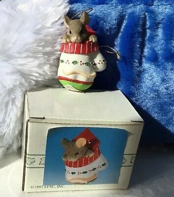 Vintage Charming Tails CHRISTMAS ORNAMENT Fitz n Floyd Mouse MACKENZIE in MITTEN