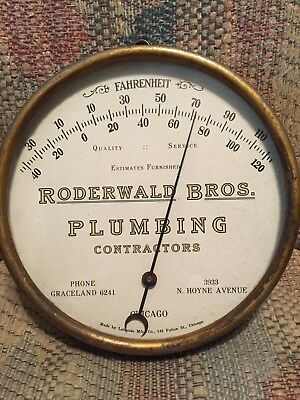 1930's Vintage Antique 4 Digit Phone Plumbing Tin Non Porcelain Thermometer Sign