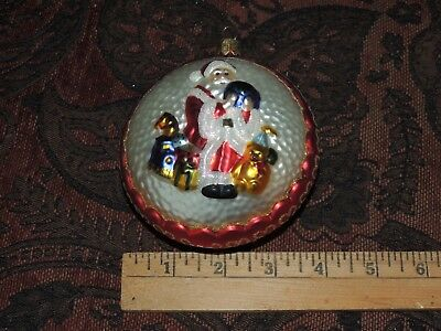 Waterford Christmas Ornament Hand Blown 4'' Santa Holding World