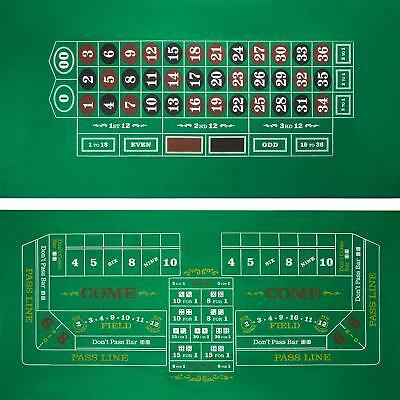 "Roulette Craps Green Casino Gaming Table Felt Layout 36"" x 72"" Game Nights Party"