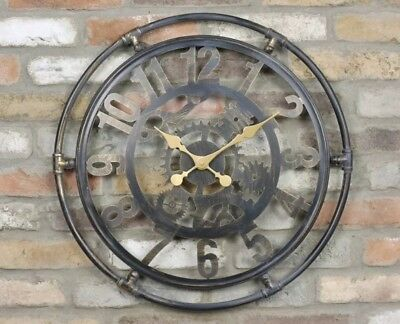 60cm Large Industrial Vintage Style Metal Skeleton Wall Clock Retro Pipework NEW