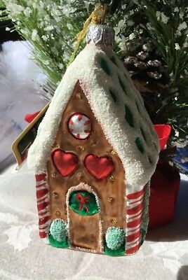NEW in Box Potpourri Designs GLASS Ornament GINGERBREAD HOUSE Made in Poland