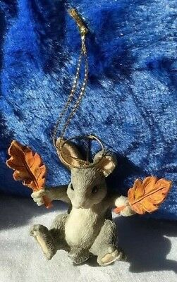 Vintage Charming Tails CHRISTMAS Bunny Halo Holding Leaves ORNAMENT Fitz n Floyd