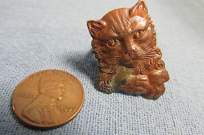 Antique Art Nouveau CAT FACE Size 8 Brass RING - Must See to Appreciate