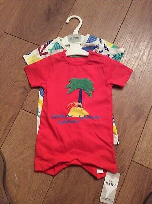 Baby 2 Pack Romper Suit Size 0-3 Months Marks And Spencers Bnwt