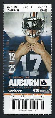 2017 Ncaa Alabama Crimson Tide @ Auburn Tigers Full Unused Football Ticket