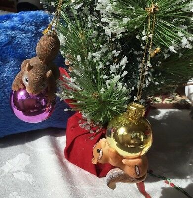 NEW SET of 2 Charming Tails GLASS + Resin  Squirrel Chipmunk Christmas Ornaments