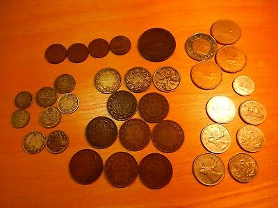 Lot of Canadian Coins Canada, Some Silver, Some Large Cents, More