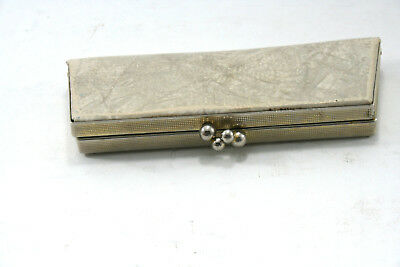 Vintage Mid-Century Clamshell Clutch Coin Purse Metal Clasp Ivory w/ Red Lining