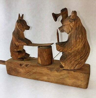 Antique/Vintage Hand Carved Wooden Bear and Fox.