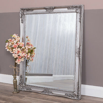 Square Silver Wall Mirror Ornate French Shabby Chic Vintage Bedroom 100 x 80cm
