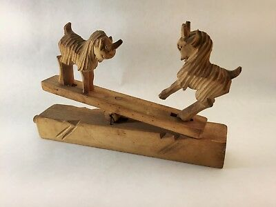 Antique/Vintage Hand Carved Wooden Goats on a seesaw. Movable.